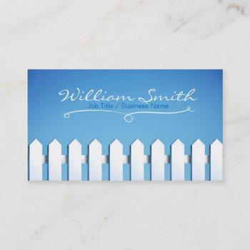 white wood business fence card