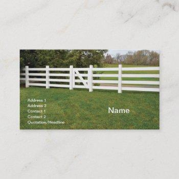 white wooden post fence and gate business card