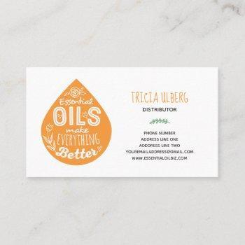 wild orange essential oil drop business card