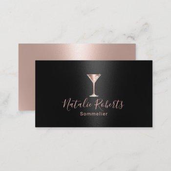 wine bartender sommelier black & rose gold business card