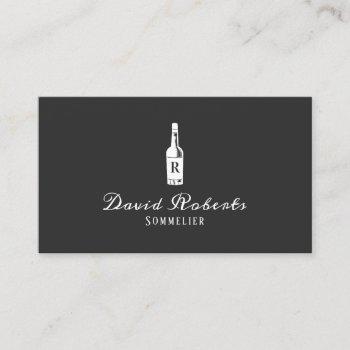 wine bartender sommelier elegant dark gray business card