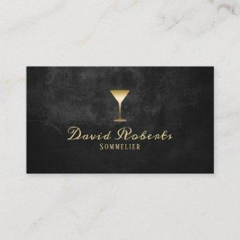 wine bartender sommelier modern black & gold business card