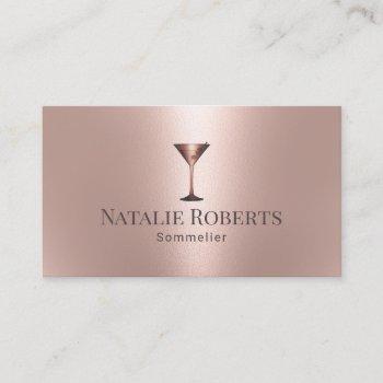 wine bartender sommelier modern rose gold business card