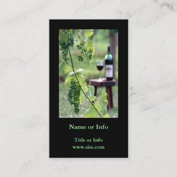 wine in vineyard vertical photography business card