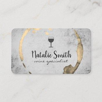 wine stain (wine glass) / gold business card