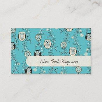 winter owls daycare business cards