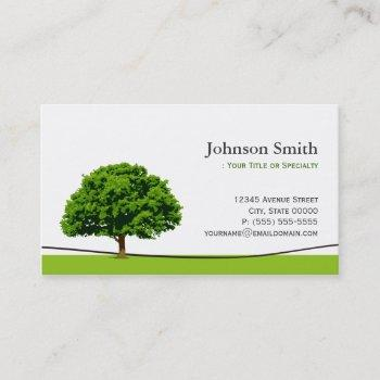 wise oak tree symbol - professional tree service business card