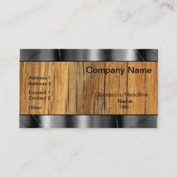 wood and metal borders professional business cards