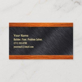 wood and steel business card for contractor or?