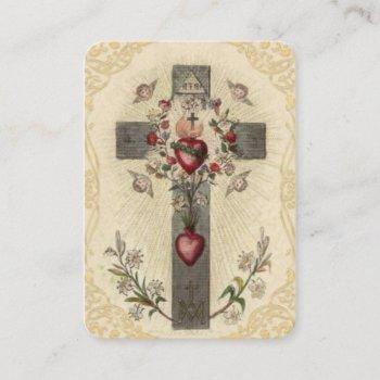 wood cross sacred hearts angels flowers holy card