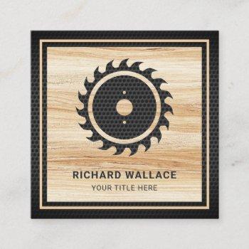 wood grain black circular saw handyman carpenter square business card