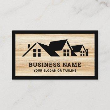 wood grain black house roofing construction roofer business card