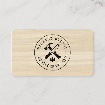 wood grain look professional carpenter rustic logo business card
