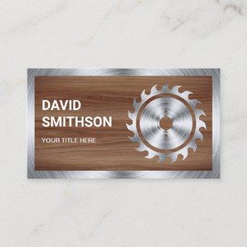 wood grain steel circular saw handyman carpenter business card