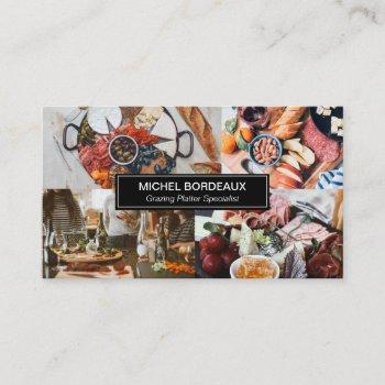 wood platter photo collage grazing catering business card