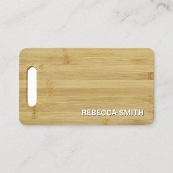 wooden bamboo cutting board catering culinary chef business card