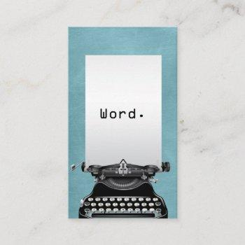 """word."" vintage typewriter turquoise writer business card"