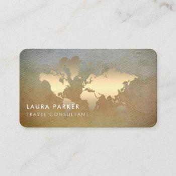 world map travel agent watercolor gold tourism business card
