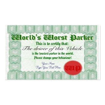 Small World's Worst Parker Bad Parking Award Certificate Back View
