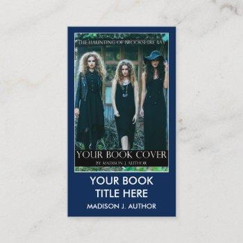 writer author book cover blue or pick color business card