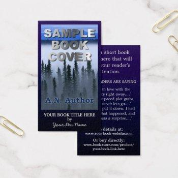 writer author promotion big book cover dark blue