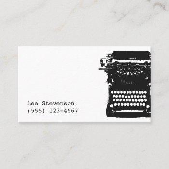 writer black vintage typewriter business card