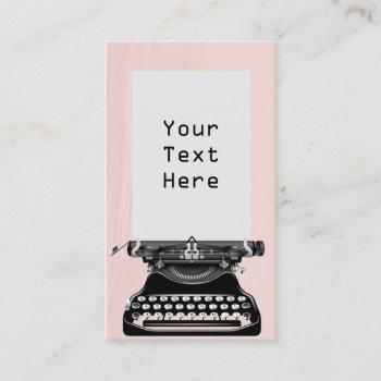 writer old school typewriter vintage blush pink business card