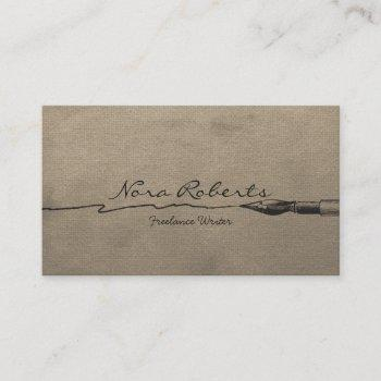 writers authors editor black dip pen brown paper business card