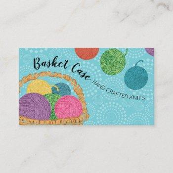 yarn basket knitting crochet business card