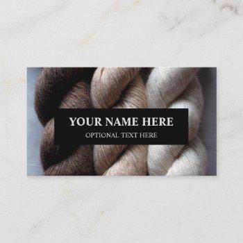 yarn knitting brown beige cream alpaca yarn business card