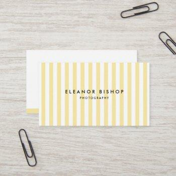 yellow and white pinstripes pattern modern business card