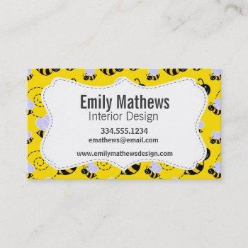 yellow & black bumble bee business card