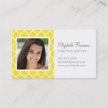 yellow chic moroccan lattice photo business card