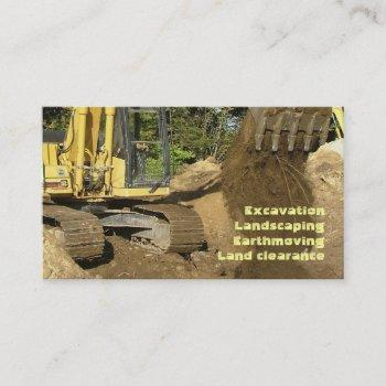 yellow excavator emptying bucket business card