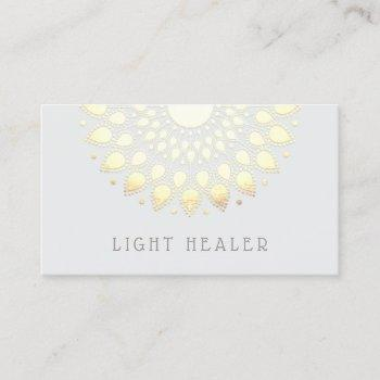 yellow floral lotus mandala energy healer business card