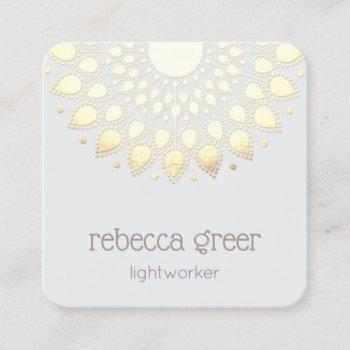 yellow gold floral lotus mandala energy healer square business card