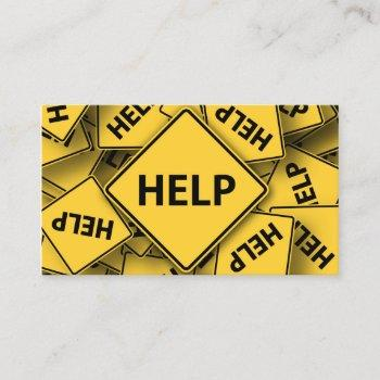 yellow help sign - business card