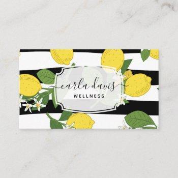 yellow lemon fruit citrus floral botanical striped business card