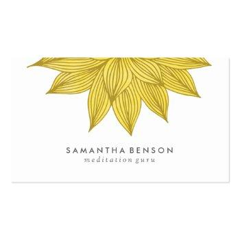 Small Yellow Lotus Flower   Floral Watercolor Business Card Front View