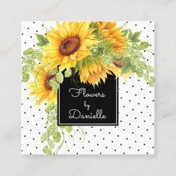 yellow sunflowers and polka dots floral square business card