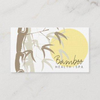 yellow sunrise zen oriental bamboo leaves asian business card