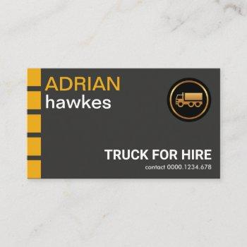 yellow tabs oversize name fonts truck driver business card