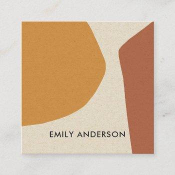 yellow terracotta modern rustic abstract artistic square business card