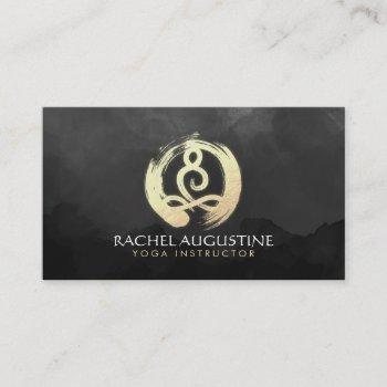 yoga instructor black & gold meditation zen symbol business card