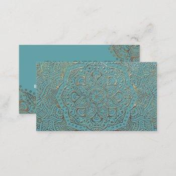 yoga instructor boho | elegant teal gold mandala business card