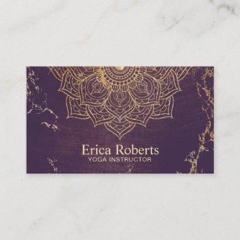 yoga instructor gold lotus mandala vintage purple business card