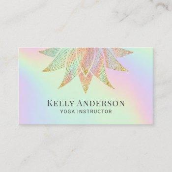 yoga instructor lotus flower holographic pastel business card