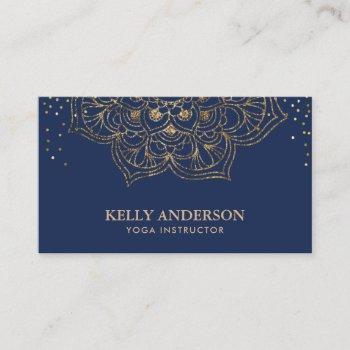 yoga instructor lotus mandala elegant navy & gold business card