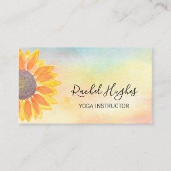 yoga instructor sunflower watercolor business card