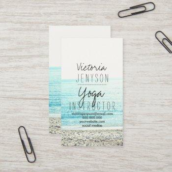 yoga instructor typography beach photo business card